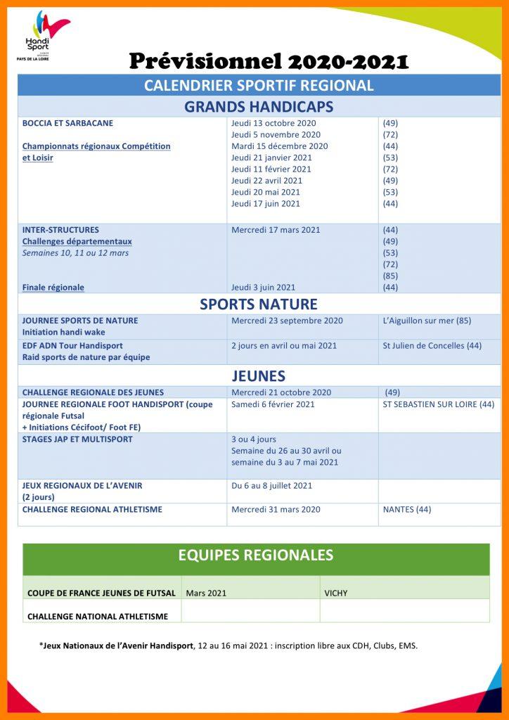 Calendrier régional 2020/2021   Handisport 44